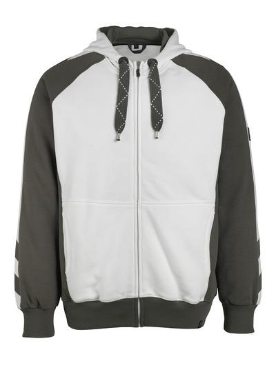 Sweat capuche zippé - MASCOT UNIQUE blanc et gris foncé