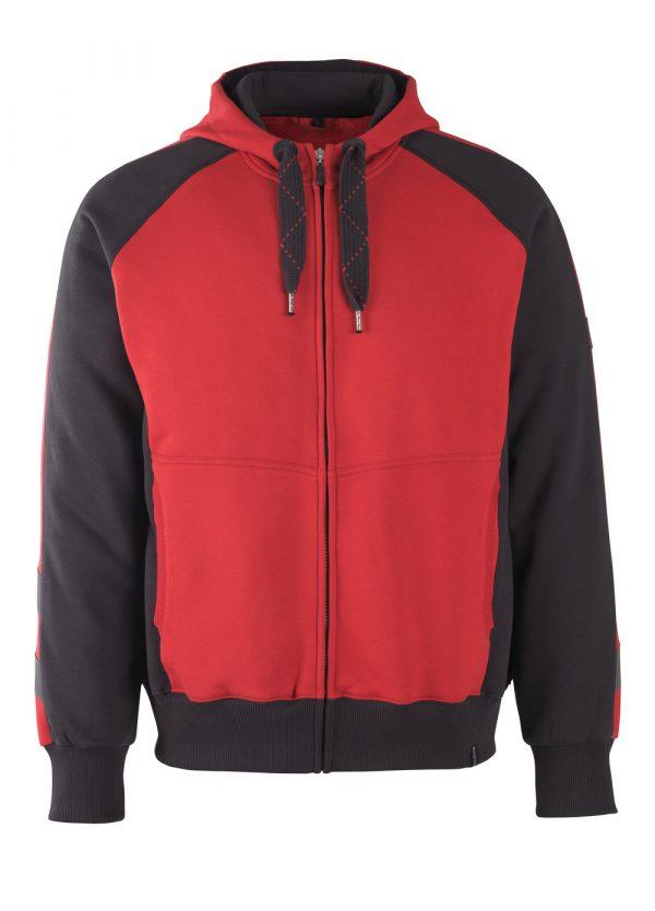 Sweat capuche zippé - MASCOT UNIQUE rouge et noir