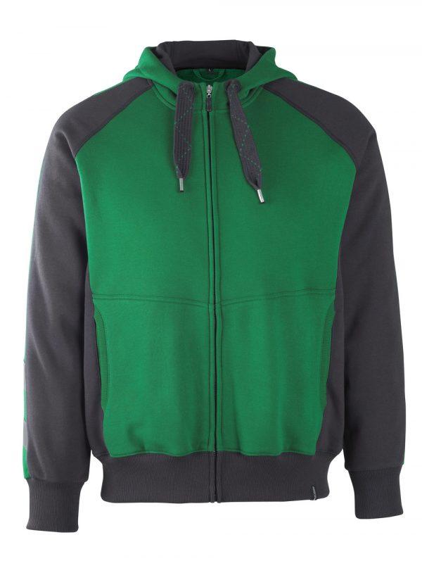 Sweat capuche zippé - MASCOT UNIQUE vert et noir