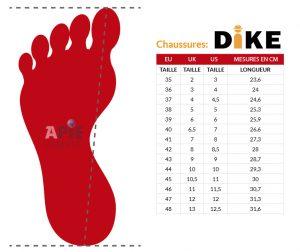 Guide des Tailles - Chaussures de sécurité DIKE