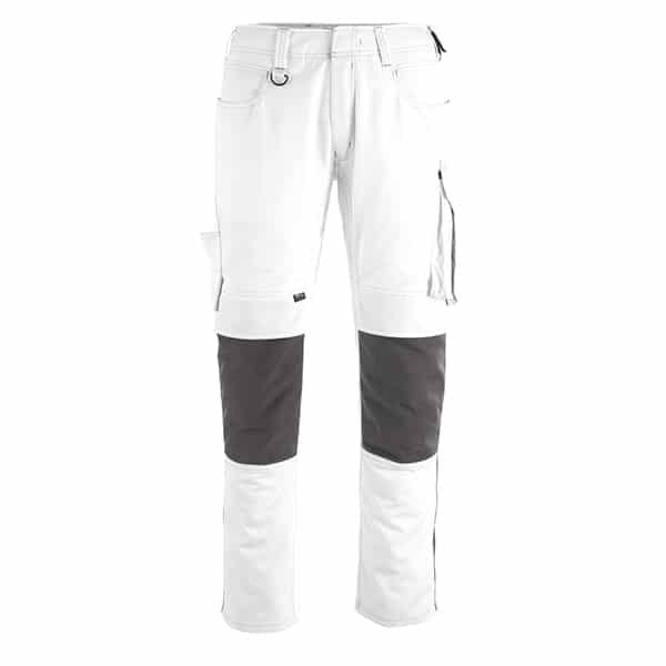 Pantalon poche genouillères erlangen blanc et gris foncé | MASCOT