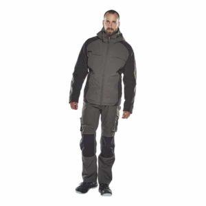 Pantalon poche genouillères erlangen gris foncé et noir de face | MASCOT