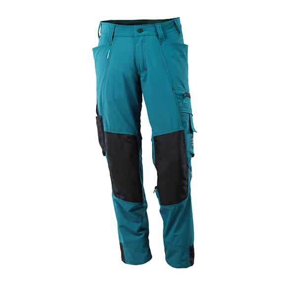 Pantalon avec poches genouillères bleu pétrole | Mascot Advanced