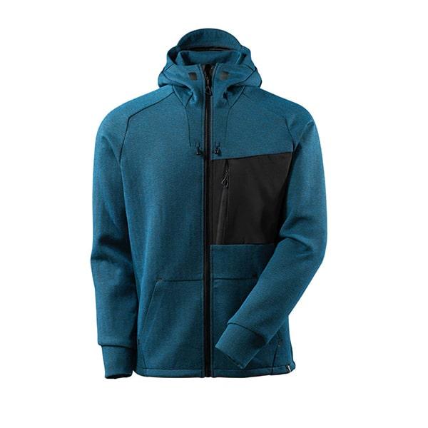 Sweat capuche zippé bleu pétrole | MASCOT Advanced