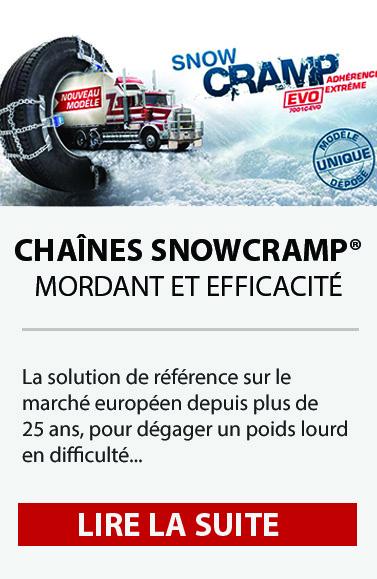 SnowCRAMP®EVO permet d'équiper seul un poids lourd en moins de 10 minutes grâce à son système d'installation rapide, simple et performant.