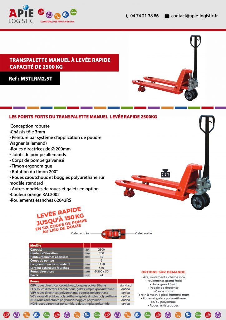 fiche technique Transpalette Manuel à Levée Rapide – Capacité de 2500 kg