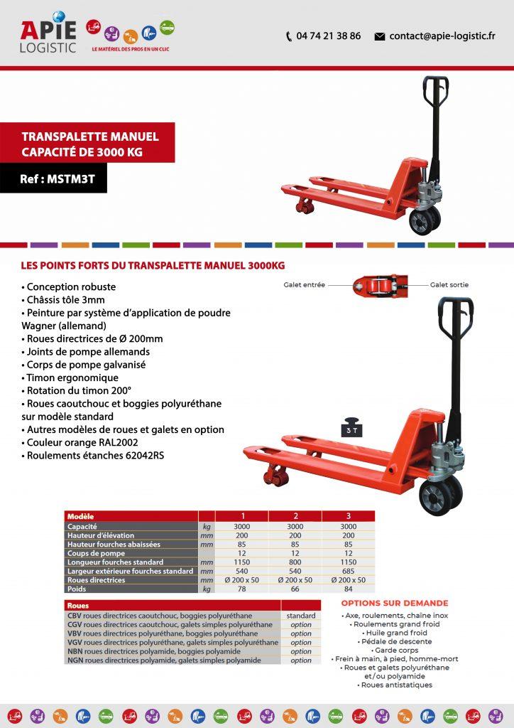 fiche technique Transpalette Manuel - Capacité de 3000 kg