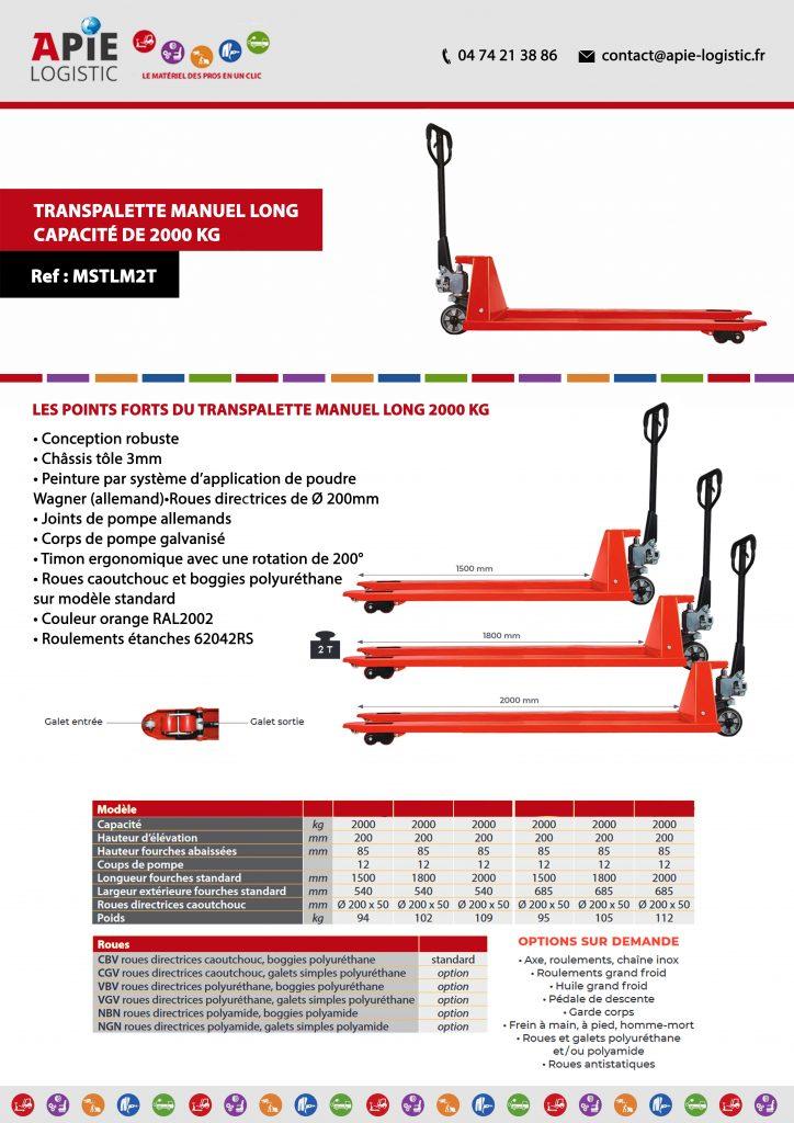Transpalette Manuel Long – Capacité de 2000 kg