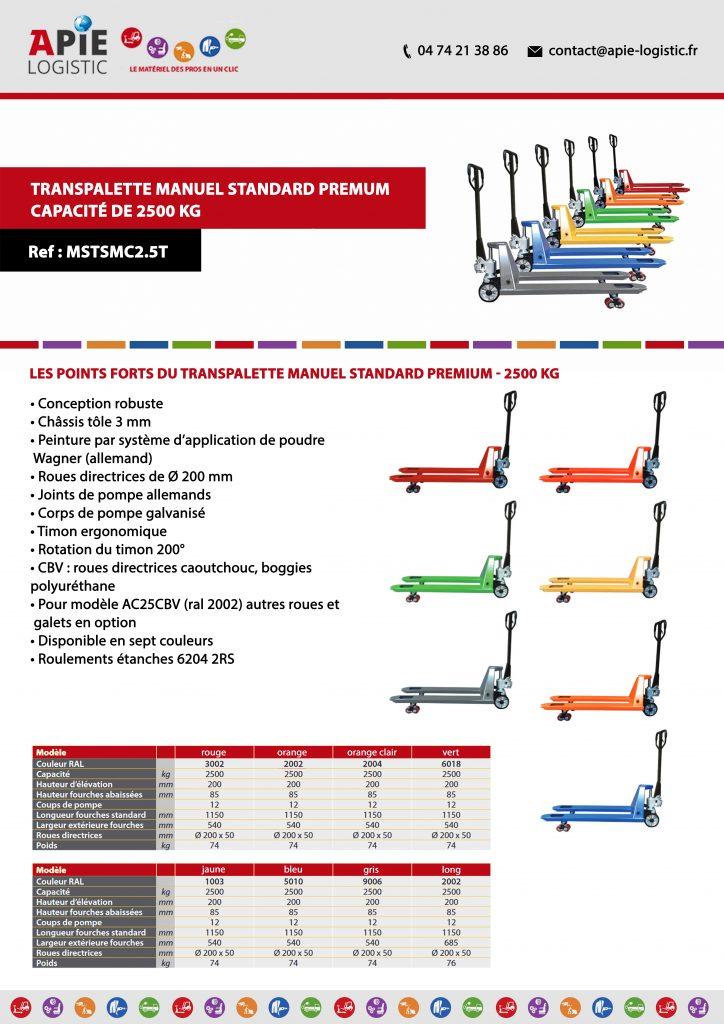 fiche technique Transpalette Manuel Standard Premium – Capacité de 2500 kg