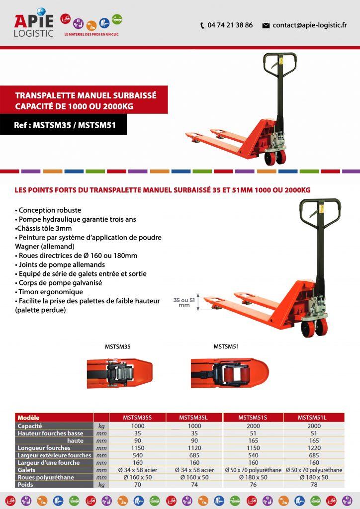 Transpalette Manuel Surbaissé - Capacité de 1000 ou 2000kg