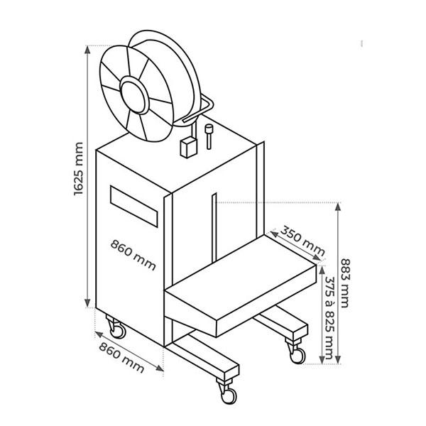 Cercleuse Semi-Automatique En Inox - Verticale - Schéma