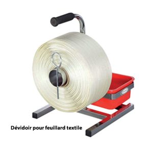 Dévidoir pour bobines feuillard textile avec bac