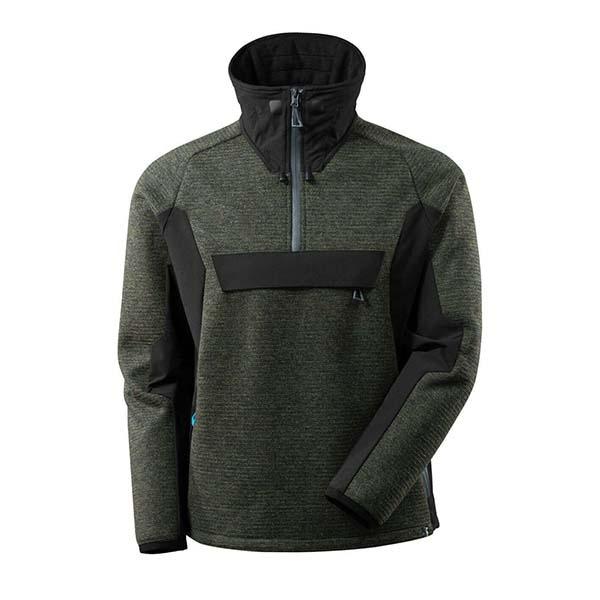 Veste tricot demi-zippé Mascot - ADVANCED vert foncé et noir