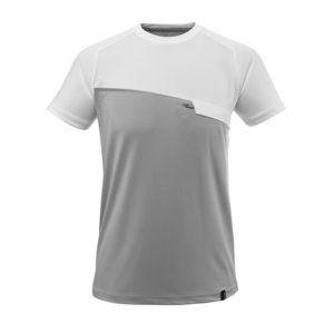 T-Shirt Mascot avec poche poitrine - ADVANCED gris chiné et blanc