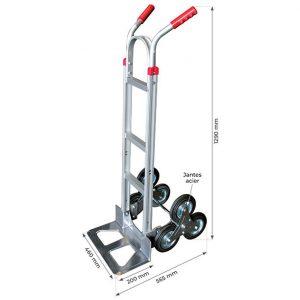 Diable aluminium trois roues monte-escalier 150kg